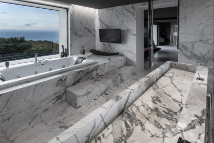 Antolini in Luxury Cannes Spa Like Bathroom with ocean view window